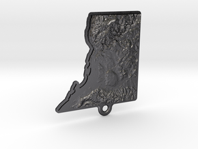Washington DC topographic key fob in Polished and Bronzed Black Steel