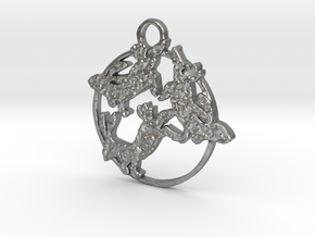 Dancing Hares in Natural Silver