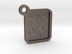 ZWOOKY Keyring LOGO 12 3cm 3mm negative in Polished Bronzed Silver Steel