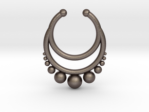 Septum dropped ring with spheres under in Polished Bronzed Silver Steel