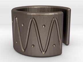 Ear Cuff - wave in Polished Bronzed Silver Steel