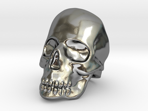 Skull Ring - Size US 10 in Polished Silver