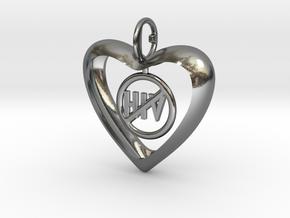 Hjärta mot HIV in Polished Silver