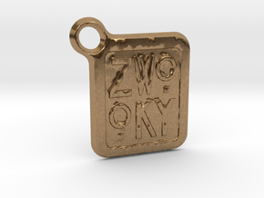 ZWOOKY Keyring LOGO 12 3cm 2mm rounded in Natural Brass