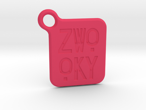 ZWOOKY Keyring LOGO 14 3cm 2mm rounded in Pink Strong & Flexible Polished