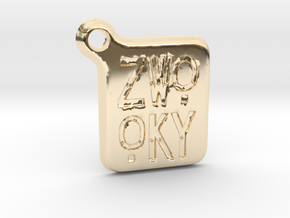 ZWOOKY Keyring LOGO 14 3cm 3mm rounded in 14K Yellow Gold