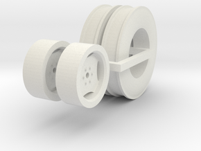 1:64 Grain Drill Marker Tires And Wheels in White Natural Versatile Plastic