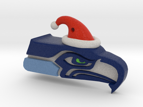 Seahawk Santa Ornament in Full Color Sandstone