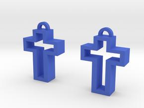 Chunky Cross in Blue Processed Versatile Plastic