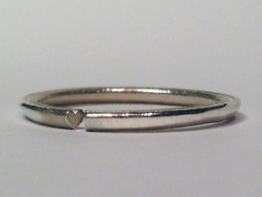 Secret Hidden Heart Ring (Size 8) in Polished Silver