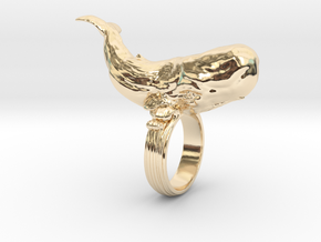 Sperm whale Ring  in 14K Yellow Gold