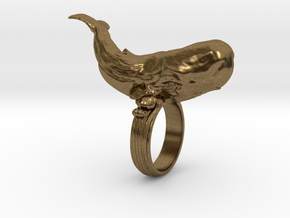 Sperm whale Ring  in Natural Bronze