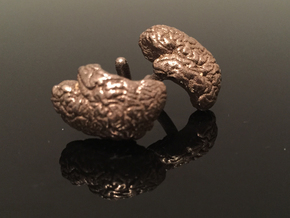 Brain Cufflinks (Two Hemispheres) in Polished Bronzed Silver Steel