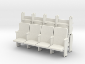 4 X 3 Theater Seats HO Scale in White Natural Versatile Plastic