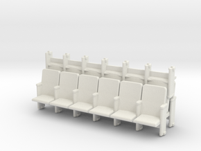 6 X 3 Theater Seats HO Scale in White Natural Versatile Plastic