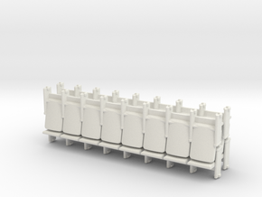 8 X 4 Theater Seats HO Scale in White Strong & Flexible
