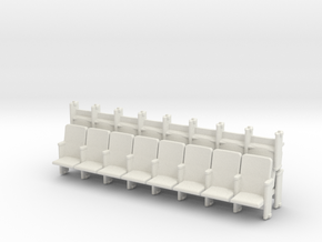 8 X 3 Theater Seats HO Scale in White Natural Versatile Plastic