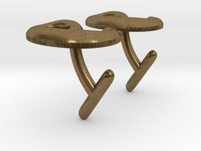 e Cufflinks (Euler's number) in Natural Bronze