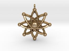 UNIVERSAL ATOM Designer Jewelry Pendant in Polished Gold Steel