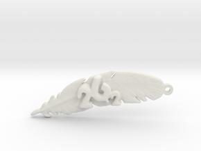 26.2 MARATHON FEATHER KEYCHAIN in White Natural Versatile Plastic