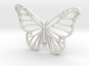 Butterfly 2 wall stencil 5.5cm in White Natural Versatile Plastic