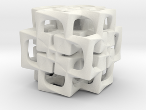 Fused Cubes smaller in White Natural Versatile Plastic
