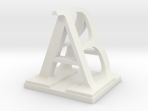 Two way letter / initial B&A in White Natural Versatile Plastic
