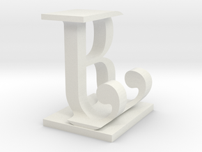 Two way letter / initial B&J in White Natural Versatile Plastic