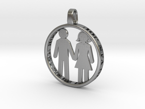Happy Couple round 3d printed pendant. personaliza in Natural Silver