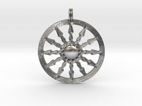 SUN Designer Symbolic Jewelry Pendant in Natural Silver