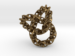 Fused  Interlocked Mobius Infinity Knot Smaller in Natural Bronze