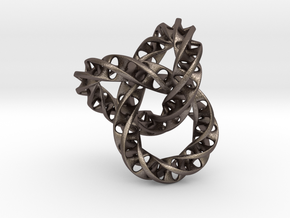 Fused  Interlocked Mobius Infinity Knot in Polished Bronzed Silver Steel