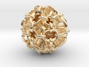 Hollow piped sphere with loops #3 Smaller in 14K Yellow Gold