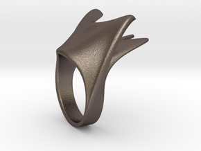 Bottle opening Scale ring  in Polished Bronzed Silver Steel