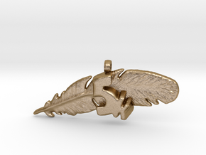 5K FEATHER NECKLACE in Polished Gold Steel