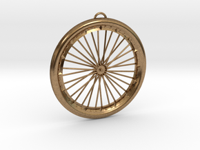 Bicycle Wheel Pendant Big in Natural Brass