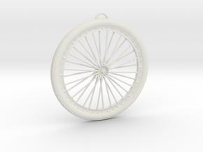 Bicycle Wheel Pendant Big in White Natural Versatile Plastic