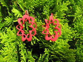 Coil Variation 1 Earrings in Red Processed Versatile Plastic