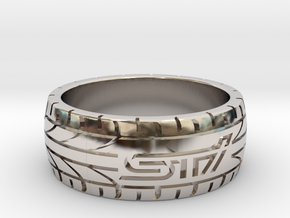Subaru STI ring - 18 mm (US size 8) in Platinum