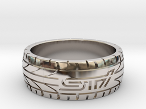 Subaru STI ring - 19 mm (US size 9) in Platinum