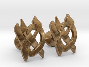 """Hebrew Monogram Cufflinks - """"Aleph Tes"""" in Natural Brass"""