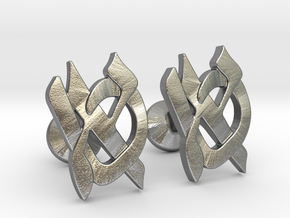 "Hebrew Monogram Cufflinks - ""Aleph Tes"" in Raw Silver"