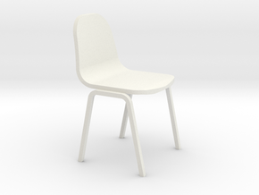 Miniature 1:24 Plastic School Chair in White Strong & Flexible