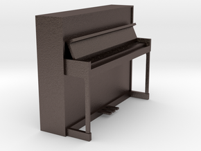 Miniature 1:24 Upright Piano in Polished Bronzed Silver Steel