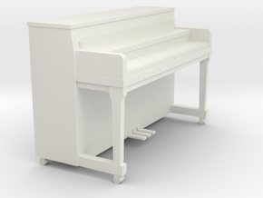 Miniature 1:24 Upright Piano Low in White Natural Versatile Plastic