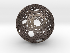 Islamic star ball with 11-pointed stars in Polished Bronzed Silver Steel