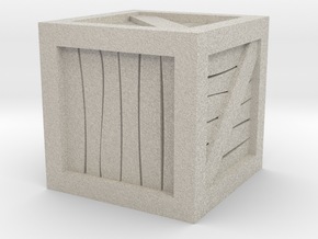 """1""""x1""""x1"""" Crate Tabletop Wargaming Miniature in Natural Sandstone"""