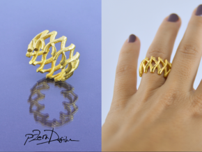 Simple Mesh Ring / Gold Mesh Ring in White Strong & Flexible Polished