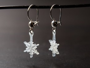 Snowflake Earrings in Smooth Fine Detail Plastic