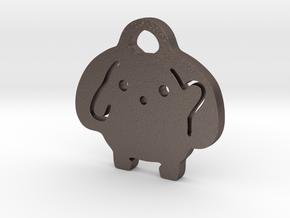 Wooser Key Chain in Polished Bronzed Silver Steel